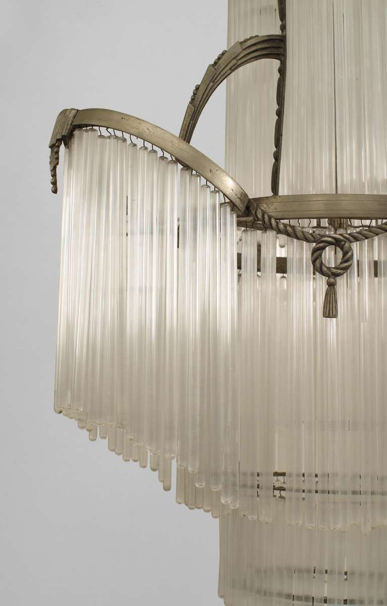 French Art Deco Glass Fringe Chandelier From A Unique Collection