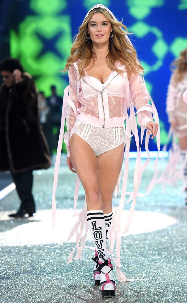 6f42e46ae2 Camille Rowe from 2016 Victoria s Secret Fashion Show Camille looks ready  to party draped in pink streamers.