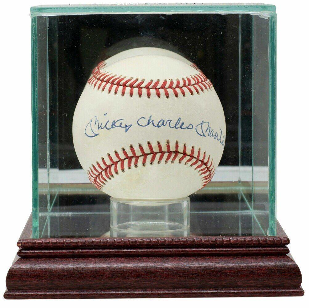 Mickey Charles Mantle Full Name Signed Al Baseball W Case Jsa Loa In 2021 Baseball Mlb Baseball New York Yankees