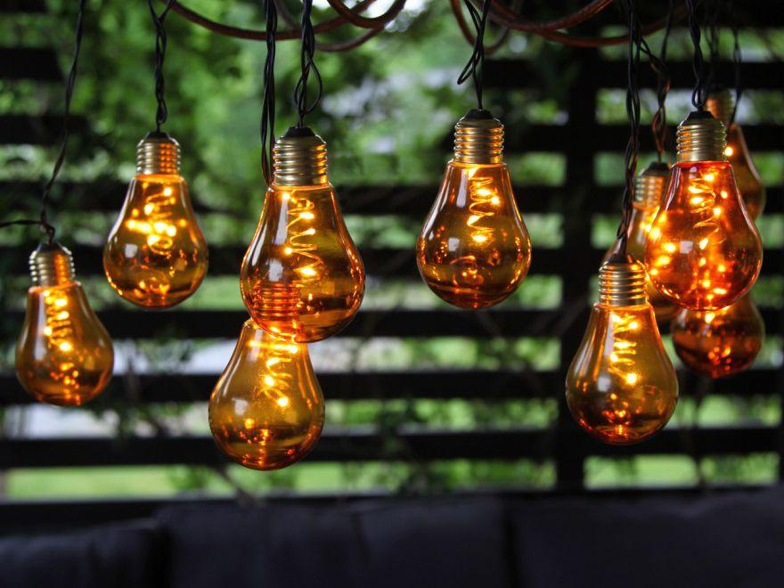 LED Lichterkette Glühbirne aus Glas Retro Design 10 tlg warm weiß indoor