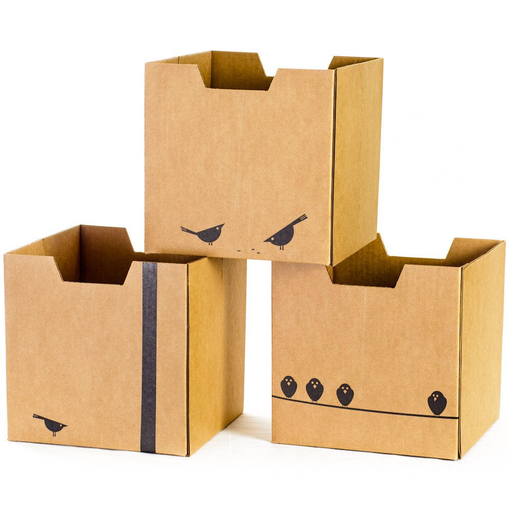 Cardboard Storage Box Decorative Kids Storage Bins  Decorative Storage Boxes  Bird Themed 3 Pack