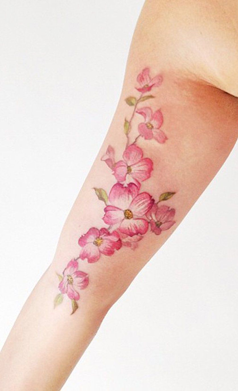 Watercolor Colorful Forearm Pink Delicate Pink Cherry Blossom Tattoo