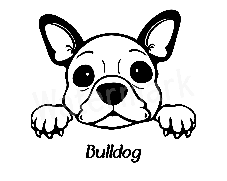 Cute Bulldog Sticker Decal Peeking Bulldog You choose the color