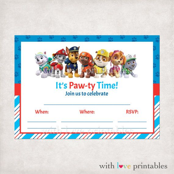 Printable paw patrol fill in blank birthday invitations custom patrulha pata pinterest for Printable paw patrol invitations