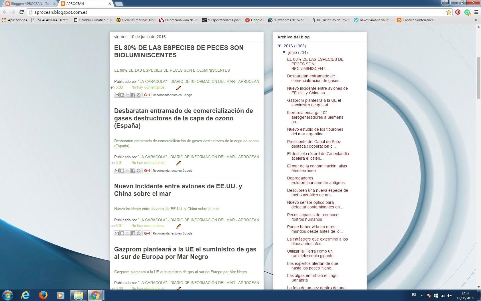 """10/06/16 12:04hs  D.I.M - Blog """"La Caracola"""" Diario de Información del Mar http://aprocean.blogspot.com.es/"""