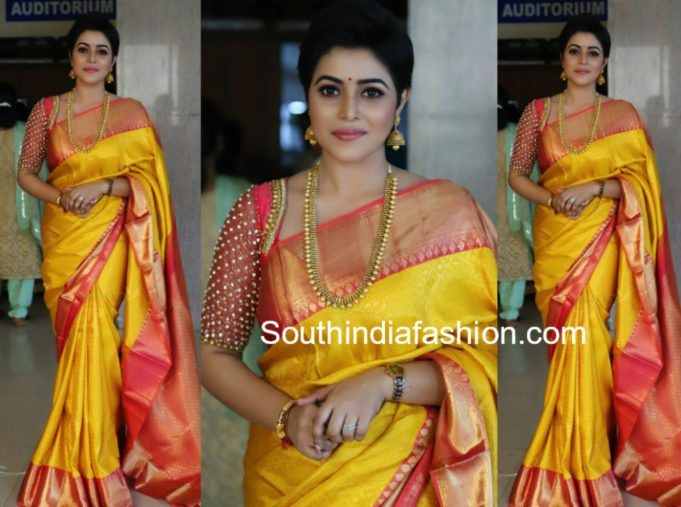 2fed222f922e29 Poorna in a Yellow Silk Saree at Bhavana and Naveen wedding | bridal ...