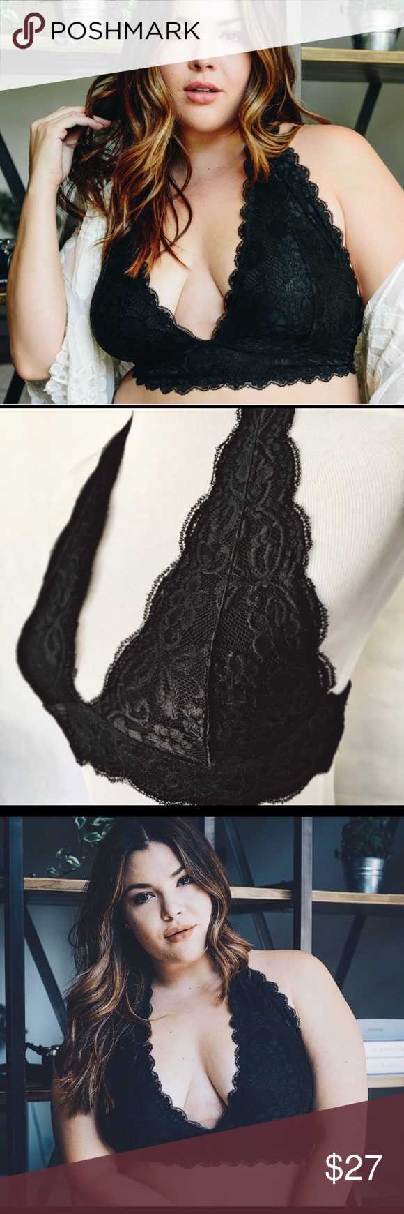 ed2542e40a XXXL Lined Black Lace Bralette Bra Gorgeous Lace Bralette in cup size C  through DDD