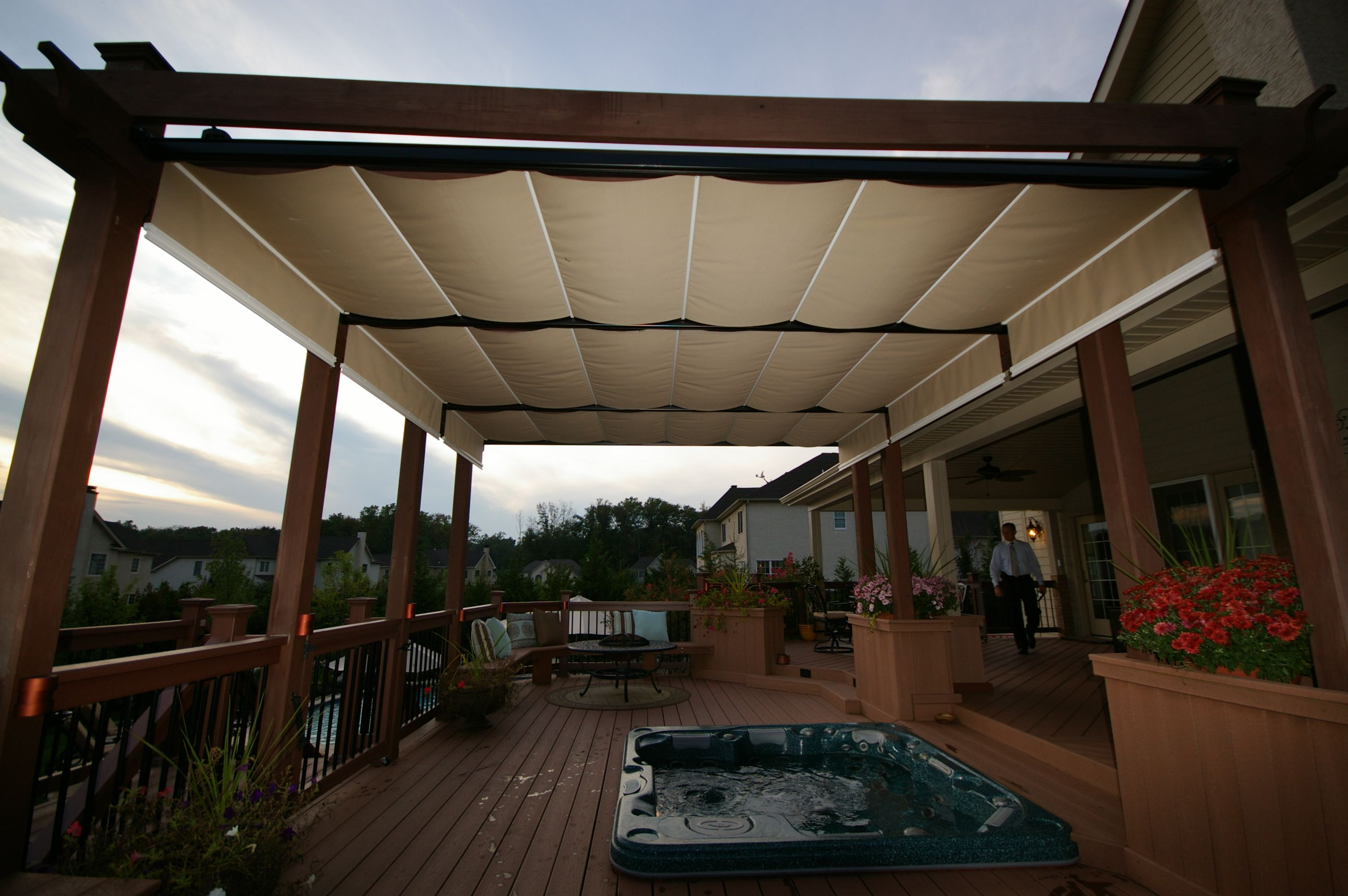 Outdoor Decks For Jacuzzis With Awning | Awning Outdoor Decoration Ideas And  Styles Marvelous White Wood