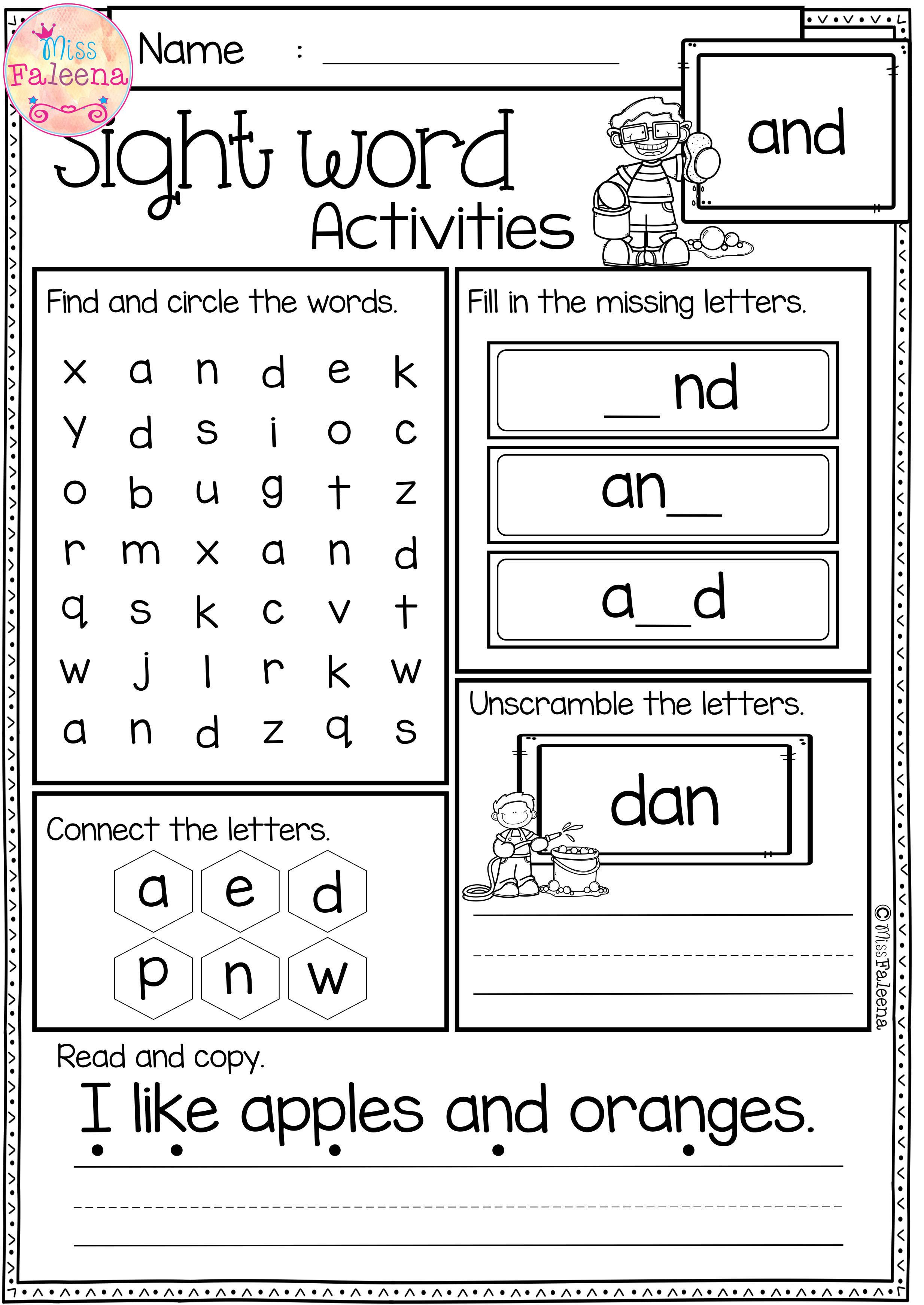 These Sight Word Pages Help Children To Learn Sight Word By Spelling Readin Kindergarten Worksheets Sight Words Sight Words Kindergarten Sight Word Worksheets