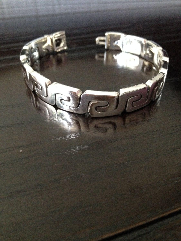 8e6ad7f544f8 Bracelet / Bangle 925 Silver thick model fretwork mens Thick and ...