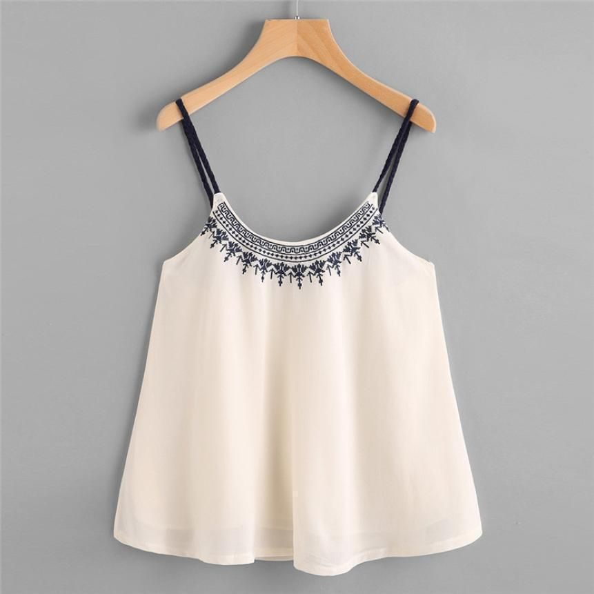 8984d37e4065c Embroidery Camis Women Casual Spaghetti Strap Sleeveless Loose Crop Top   Tops  beautiful  luxurystyle  fashionista  blogger  designer  blouse  kenya  ...
