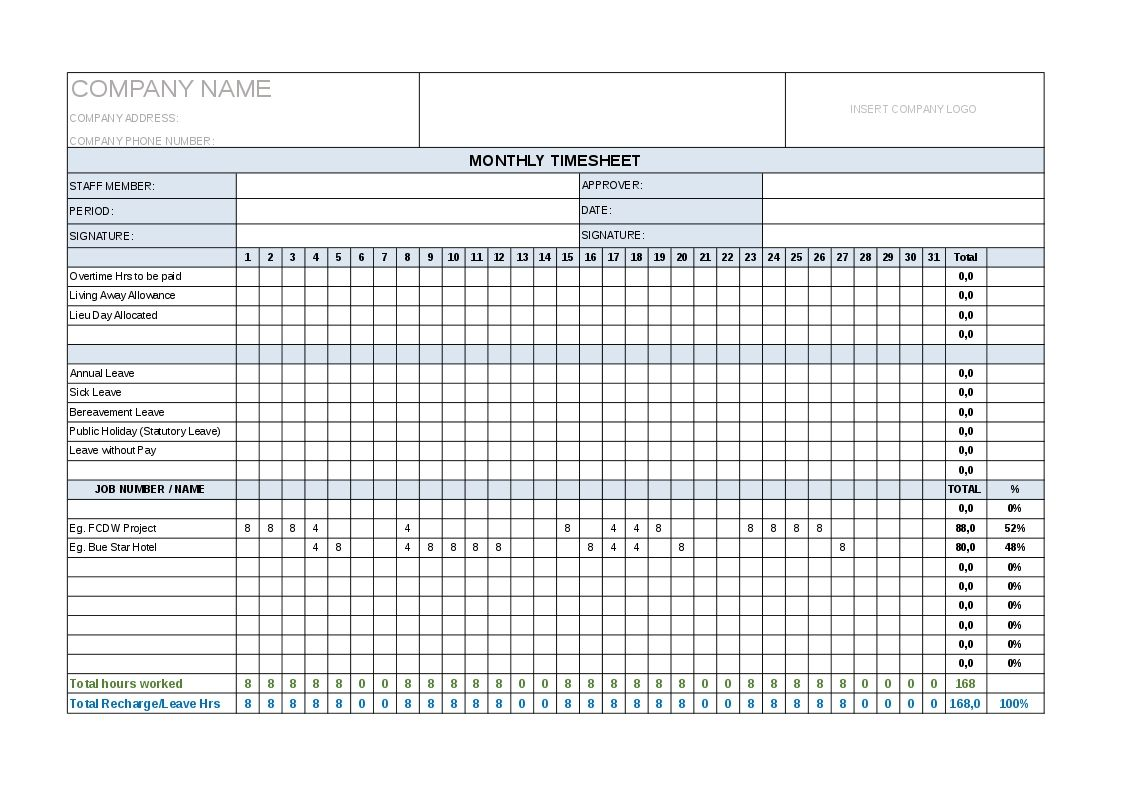 Monthly Timesheet Template Project Management Timesheet Template Project Management Templates Templates