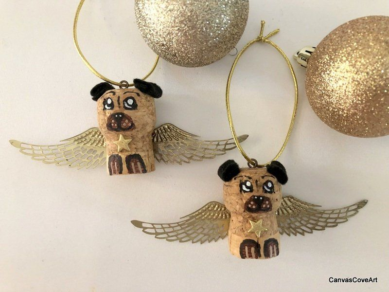 Wine Cork Puppy Dog with Gold Angel Wings Christmas Tree Ornaments