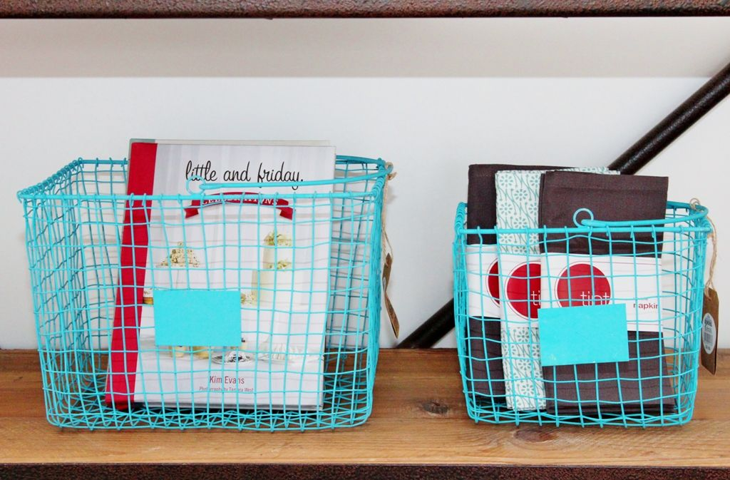 Wire Storage Baskets are a great way to store recipe books and table ...