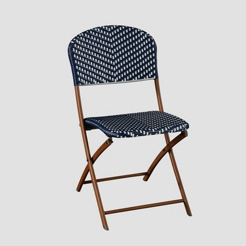 threshold french café wicker folding patio bistro chair navy white