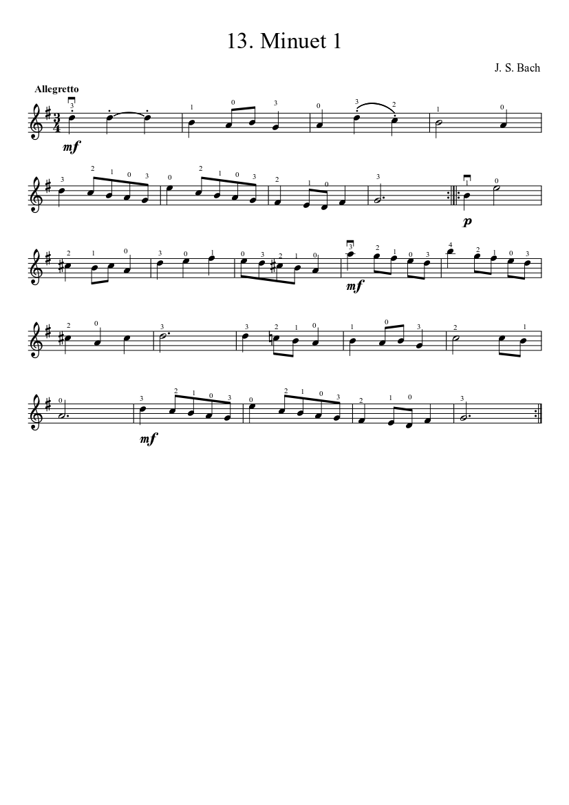 Suzuki Violin Method V. 1 - 13. Bach Minuet 1 | MuseScore.com