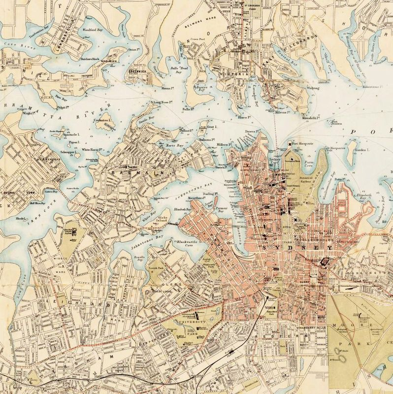 Old Map Of Sydney And Suburbs 1890 Australia New South