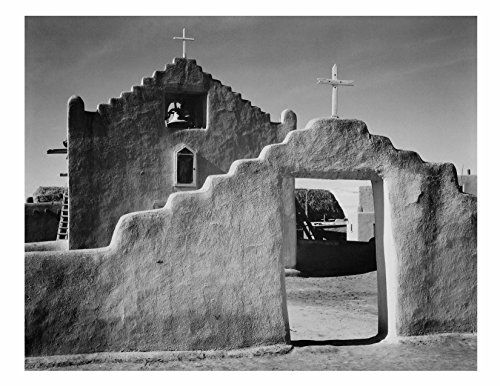 Taos Pueblo New Mexico Through the Trees Historic Art Print Photo ANSEL ADAMS