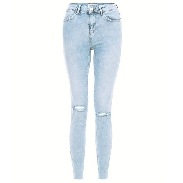 Light Blue Acid Wash Ripped Knee Skinny Jeans (135 BRL) ❤ liked ...