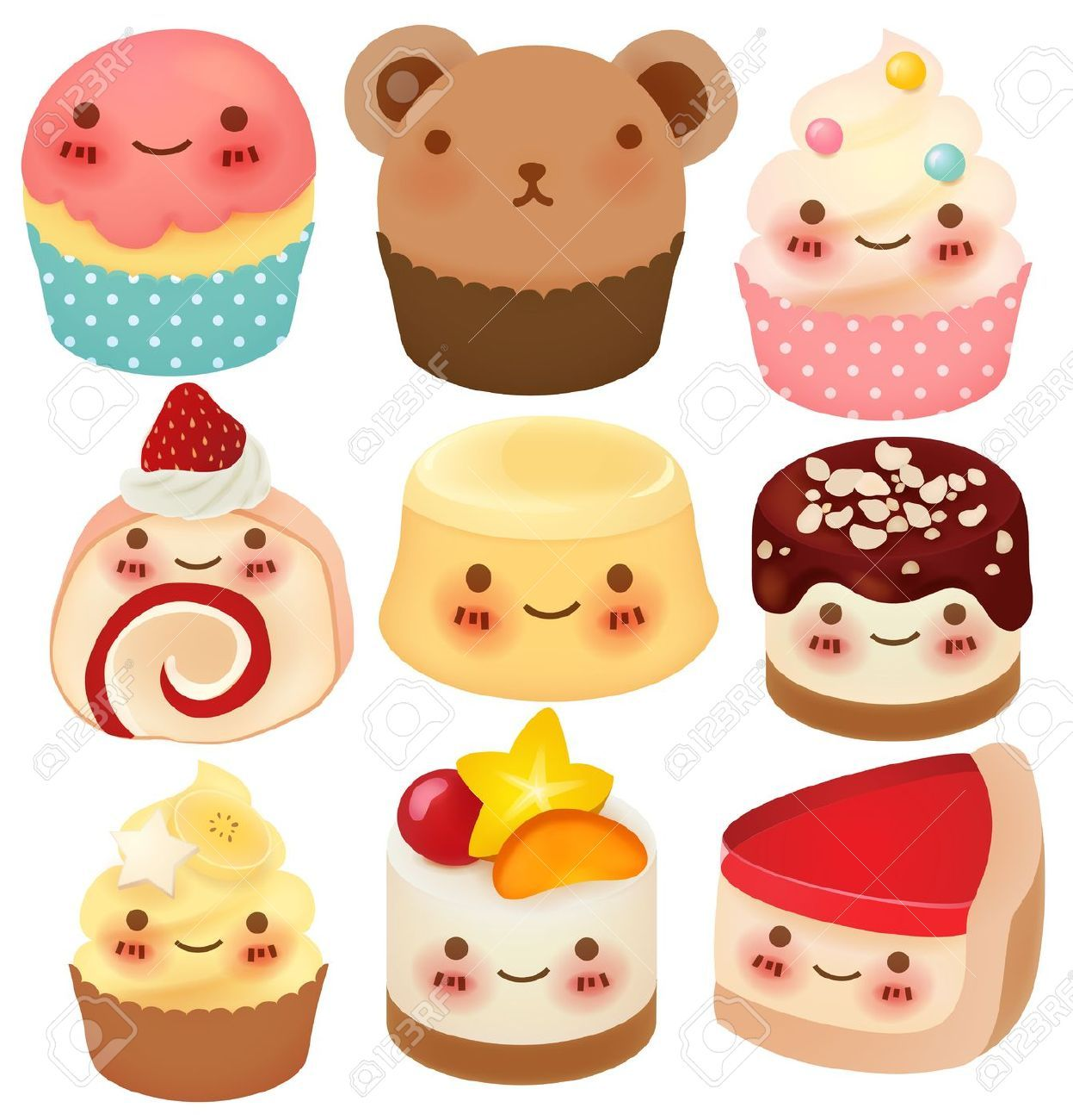 Cute Cartoon Cake Images : 20892887-Collection-of-Cute-Dessert--Stock-Vector-cartoon ...
