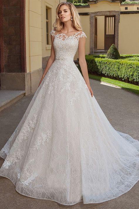 [243.60] Exquisite Tulle & Lace Bateau Neckline A-line Wedding Dresses With Lace Appliques & Belt #spitzeapplique