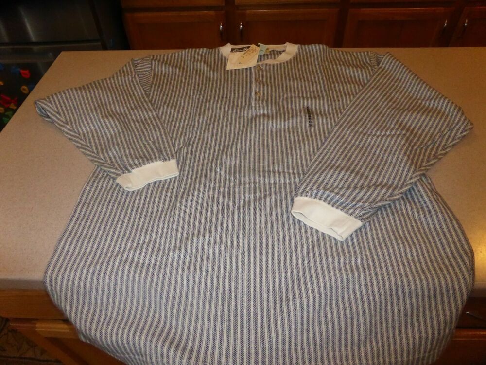 NEW Eddie Bauer Mens Vertical Stripe Henley Cotton Long