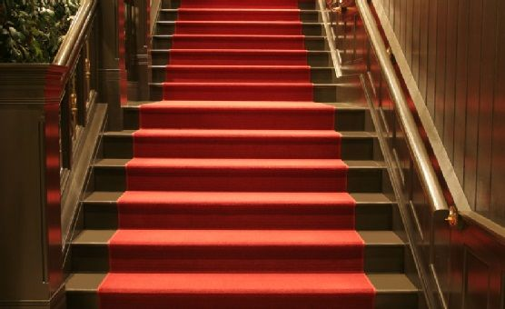 Elegant Red Carpeted Stairs Wood Stairs Escalier Design Stairs