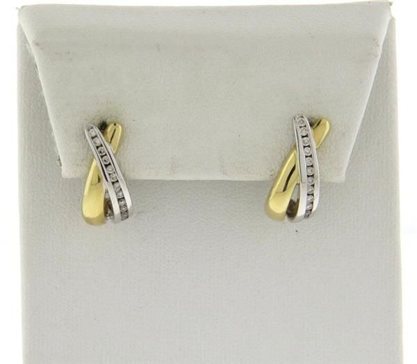 Modern 14k Gold Two Tone Diamond Half Hoop Earrings Featured in our upcoming auction on July 26!