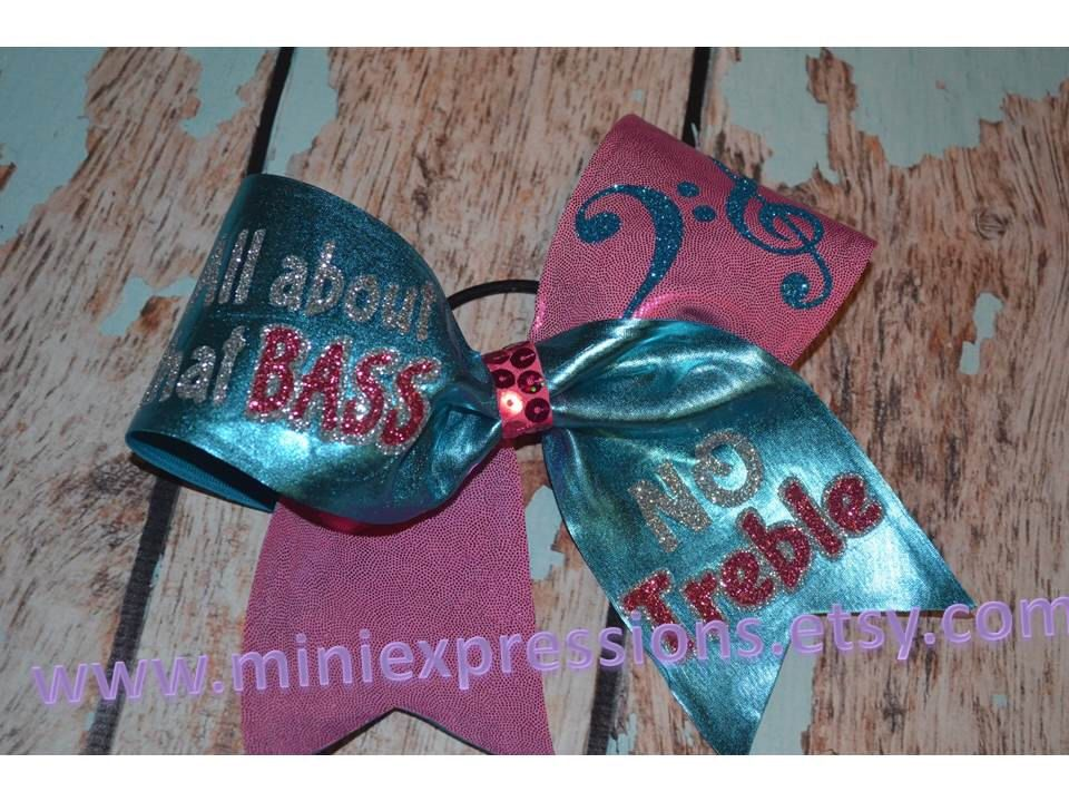 """3"""" All about that BASS no Treble Cheer bow by MiniExpressions on Etsy https://www.etsy.com/listing/200944770/3-all-about-that-bass-no-treble-cheer"""