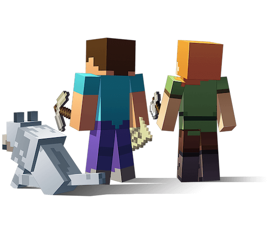 Steve Alex And A Wolf Looking Into The Distance Minecraft Art