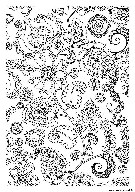 Print Adult Flowers Zen Coloring Pages