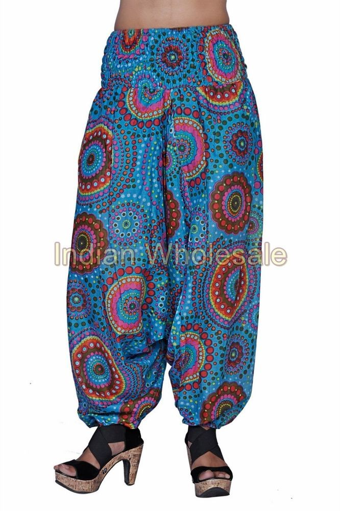 4cc53fbcbef Indian Printed Aladdin Baggy Women Cotton Harem Pants Trousers IWUS2009SBL   Handmade  CasualPants