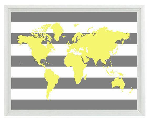 World Map Wall Art Print - Yellow Gray Stripe Decor Nursery Children ...
