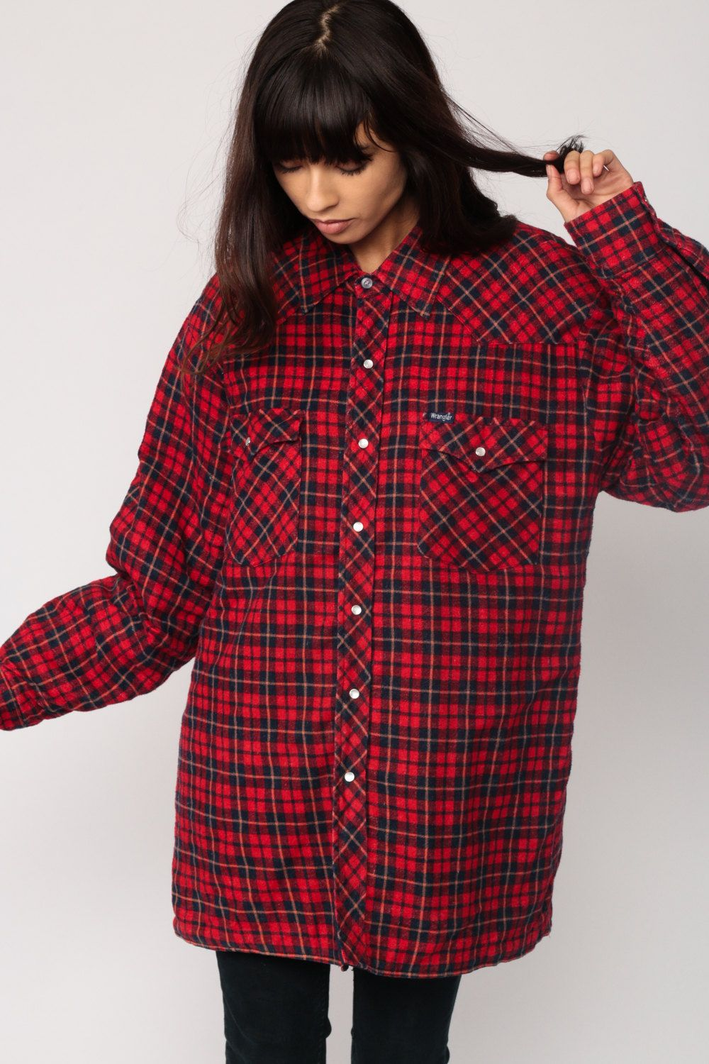 5dfa5f44 Vintage 80s Western shirt by Wrangler with pearl snaps and a red and navy  blue plaid