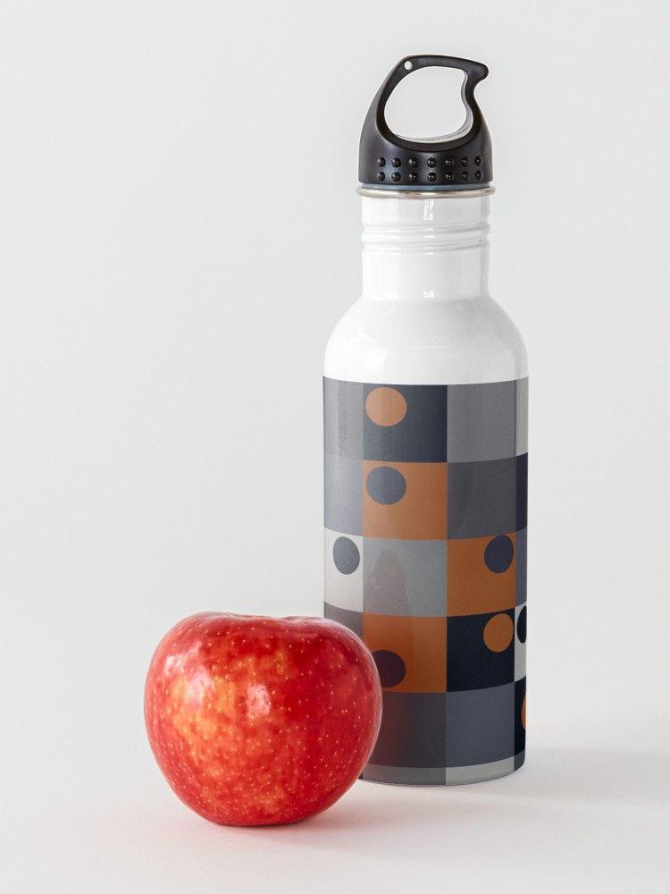 Navy Rust Squares Circles Water Bottle Water Bottle Bottle Bottle Design