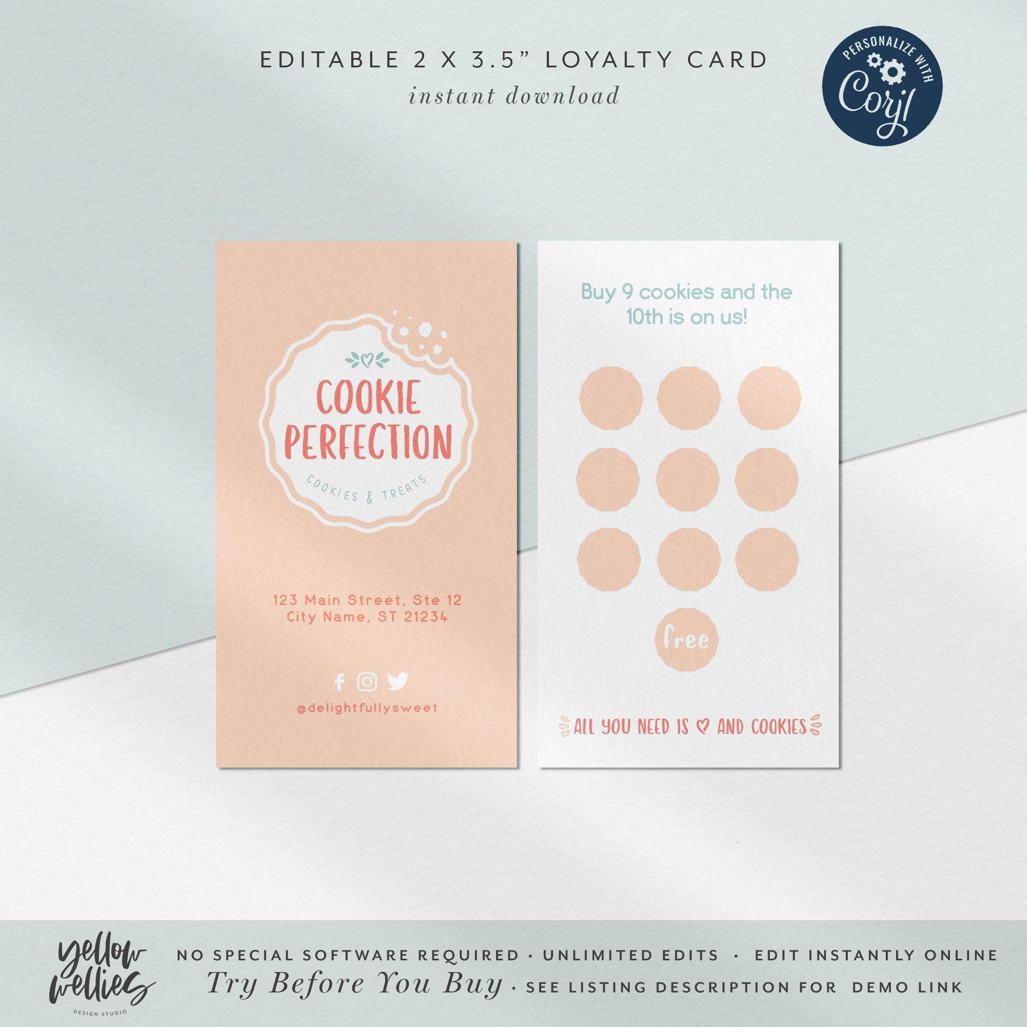 Corjl Editable Cookie Loyalty Card Sprinkles Loyalty Card Cookie Business Card Printable Loyalty Card For Bakery Diy Loyalty Card Loyalty Card Loyalty Card Design Diy Loyalty Cards