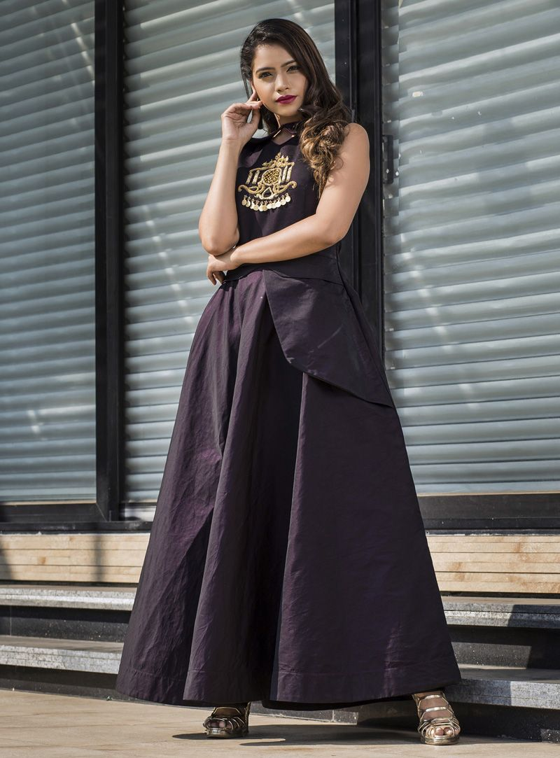 c7e47e73a76 Shop Purple Taffeta Readymade Long Gown 147132 online at best price from vast  collection of designer kurti at Indianclothstore.com.
