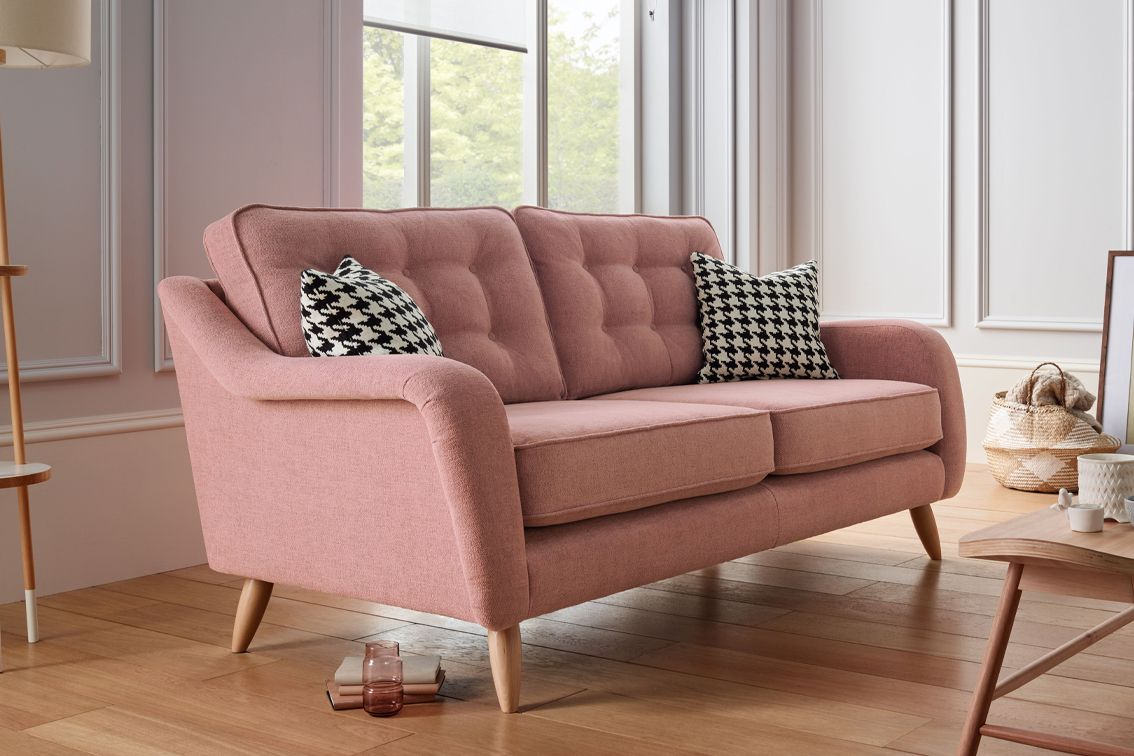 The Vera Sofa Collection Is Compact Retro Styled And Comes In This Fab Pink Fabric Our Sofas Come Wit Muebles Para Salas Pequenas Muebles Sala Salas Blancas
