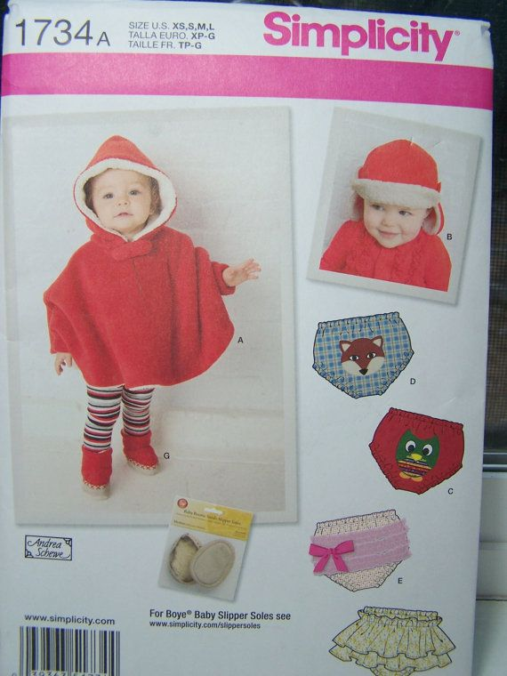 Simplicity 1734A Infant Sewing Pattern - Infant Poncho, Booties ...