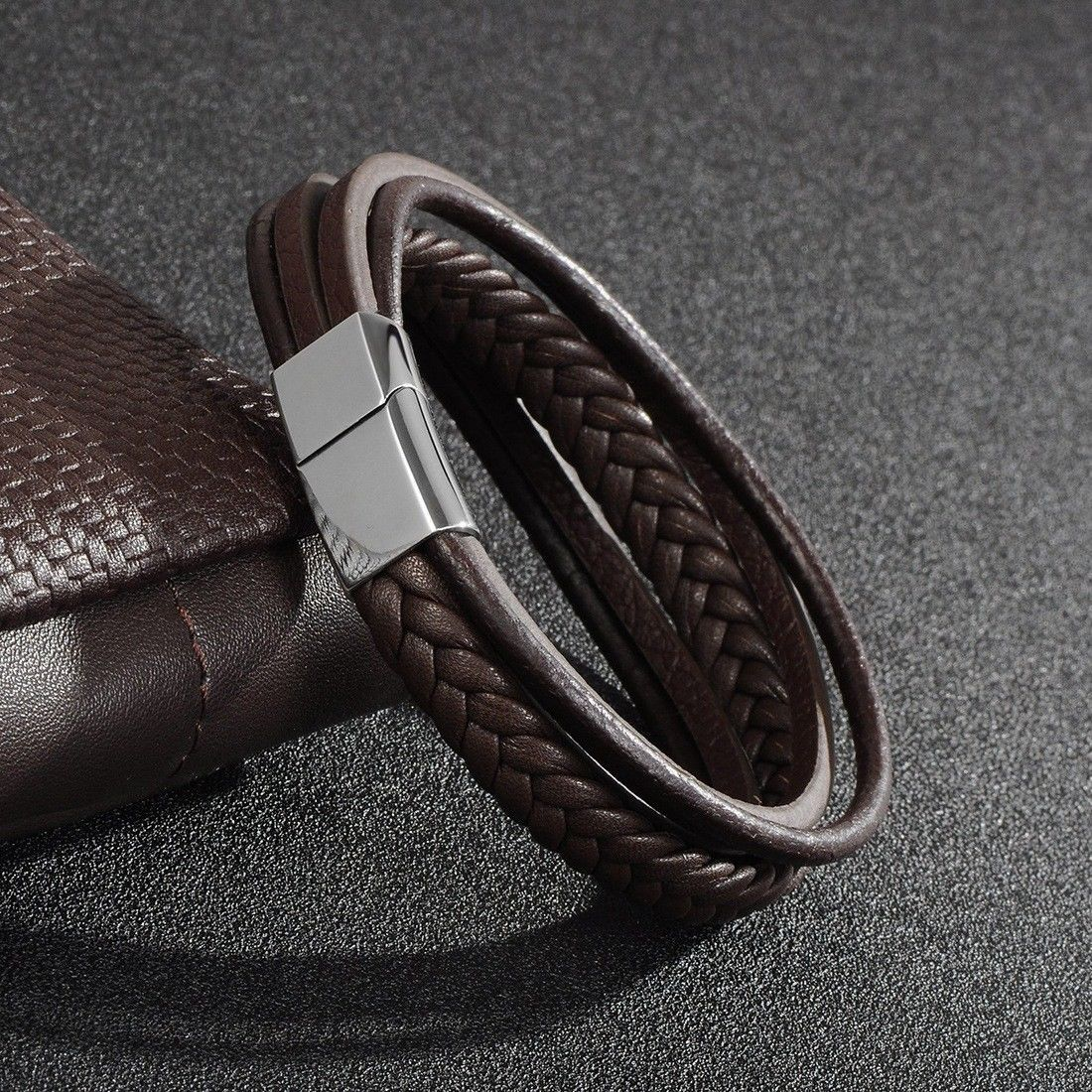 Men accessories trendy jewelry multilayer braided leather bracelet