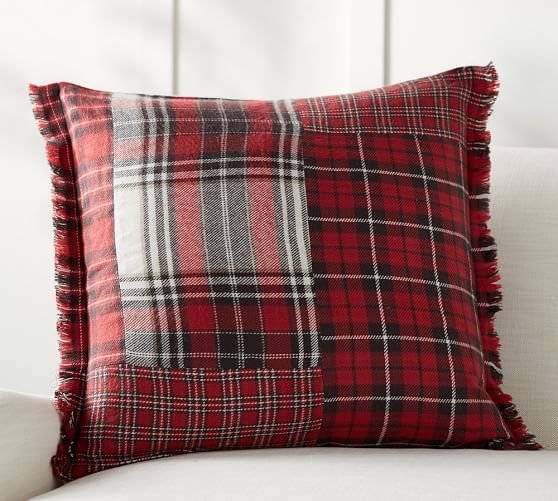 Pottery Barn Pillow Inserts Custom Landon Patchwork Plaid Pillow Cover Pottery Barn PILLOWS