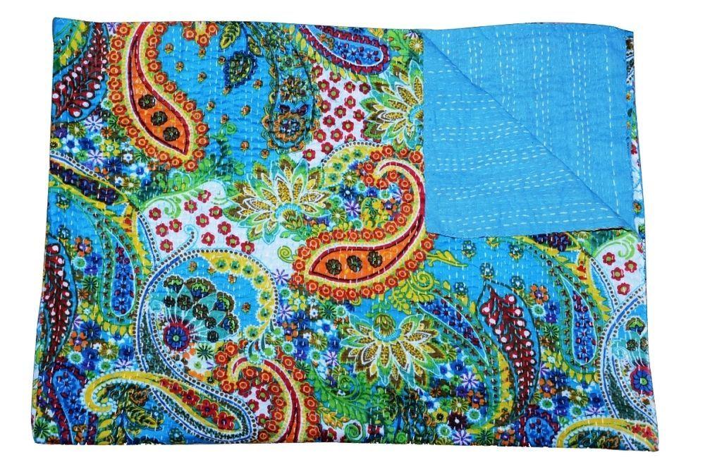 "INDIAN HANDMADE PAISLEY KANTHA QUILT REVERSIBLE Vintage Bedspread Decor 60""*90"" #Handmade #Asian"