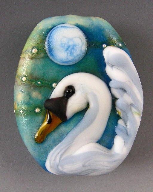 Kerribeads Lampwork Swan's Moon Focal Bead