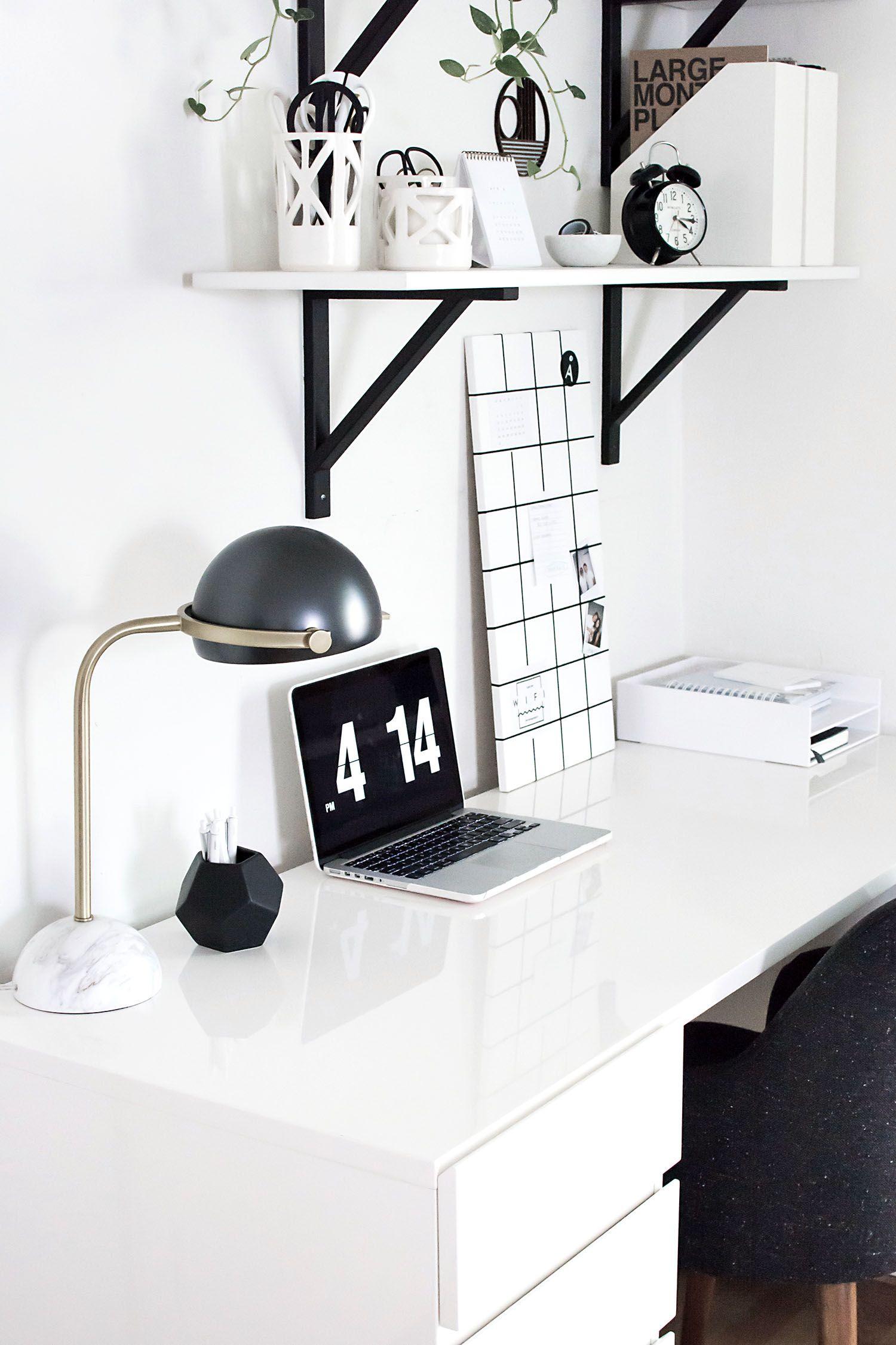 Monochrome Workspace Homey Oh My White Room Decor Home Office Design White Home Decor