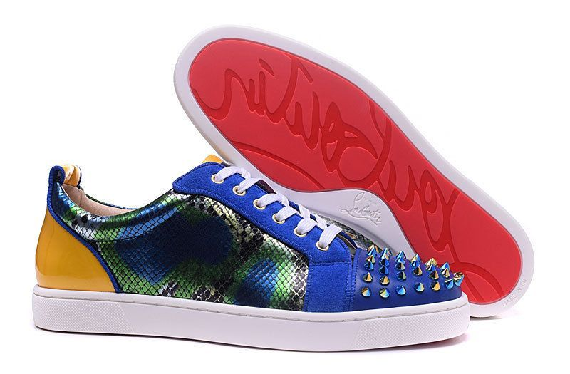 97ccfec106a Christian Louboutin Louis Junior Spikes Blue Snakeskin Spike Low Sneakers