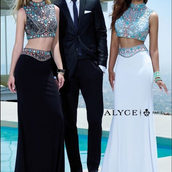 Alyce Paris two piece prom dress Two piece black prom dress worn for 3 hours. Originally size four, altered a little in the waist to fit higher up for school appropriateness☺️ if you have any questions leave me a comment I WILL SELL FOR 470 on Mmercari OR LOWER!! Alyce Paris Dresses