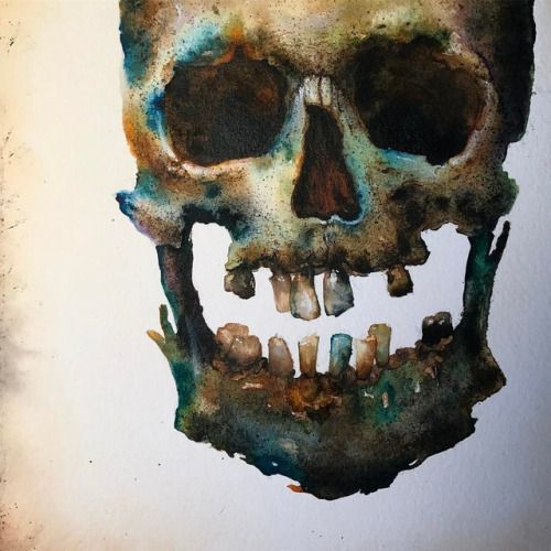 Moar skull. In progress, ink wash on paper mounted to aluminum.... #N_C_Winters #Arsetculture #Tumblr_Curator