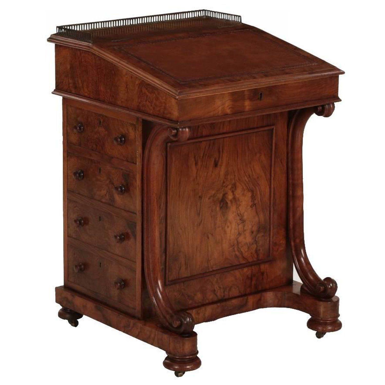 English William Iv Walnut Leather Antique Davenport Desk London Circa 1850 Antique Writing Tables Furniture