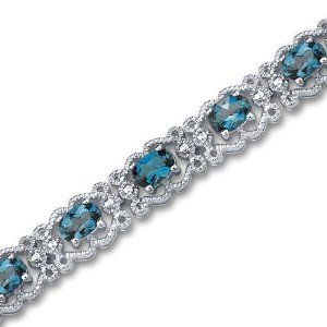 Amazon.com: Antique Styling 8.50 carats total weight Oval Cut London Blue Topaz Gemstone Bracelet in Sterling Silver Rhodium Finish: Peora: Jewelry