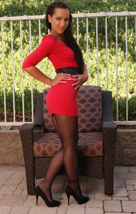 Silk pantyhose and heels